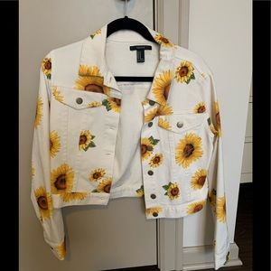 Forever 21 denim jacket with sunflowers